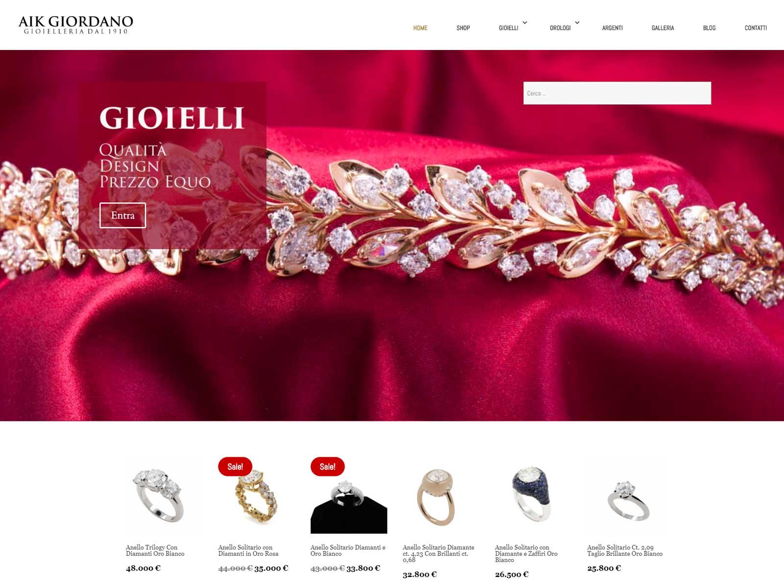 Realizzazione siti web: Gioielleria Aik Giordano